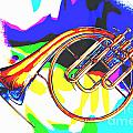 French Horn Painting Antique Classic In Color 3426.02 by M K  Miller