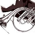 French Horn Painting Antique Classic In Sepia 3426.01 by M K Miller