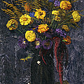 French Marigold Purple Daisies And Golden Sheaves by Felix Edouard Vallotton