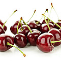 Fresh Cherries On White by Elena Elisseeva