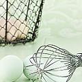 Fresh Farm Eggs And Whisk by Stephanie Frey