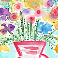 Fresh Picked Flowers- Contemporary Watercolor Painting by Linda Woods