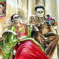Frida And Diego With Pet Monkey by Heather Calderon