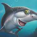 friendly Shark Cartoony cartoon under sea ocean underwater scene art print blue grey  by Walt Curlee
