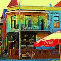 Friends On The Bench At Cartel Street Food Mexican Restaurant Rue Clark Art Of Montreal City Scene by Carole Spandau