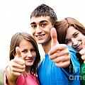 Friends Showing Thumb Up Sign by Michal Bednarek
