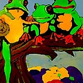 Frog Family Hanging Out On A Limb by Saundra Myles