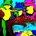 Frog Family Hanging Out On A Limb3 by Saundra Myles