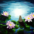 Frog In A Moonlit Pond by Laura Iverson
