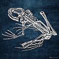 Frog Skeleton In Silver On Blue  by Serge Averbukh