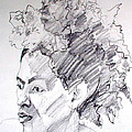 Graphite Portrait Life Drawing Sketch Of A Wild Afro by Greta Corens