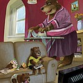 Front Room Bear Family Son Playing Computer Game by Martin Davey