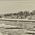 Frozen Boathouse Row In Sepia by Bill Cannon