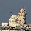Frozen Cleveland Lighthouse 2010 by Nancy Spirakus