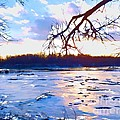 Frozen Delaware River Sunset by Robyn King