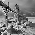 Frozen Grand Haven Lighthouse Black And White by Dan Sproul