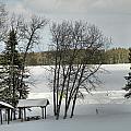 Frozen Lake Fishing by Gene Cyr