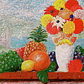 Fruit Flowers And Castle by Frank Hunter