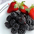 Fruit Iv - Strawberries - Blackberries by Barbara Griffin