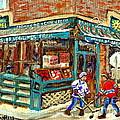 Fruiterie Epicerie Soleil Verdun Montreal Depanneur Paintings Hockey Art Montreal Winter City Scenes by Carole Spandau