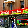 Fruiterie Marche Laurier Butcher Boulangerie De Pain Produits Quebec Market Scenes Carole Spandau  by Carole Spandau