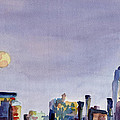 Full Moon And Empire State Building Watercolor Painting Of Nyc by Beverly Brown