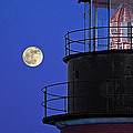 Full Moon And West Quoddy Head Lighthouse Beacon by Marty Saccone
