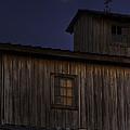 Full Moon Over Barn by Jay Droggitis