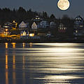 Full Moon Over Kennebec River Georgetown Island Maine by Keith Webber Jr