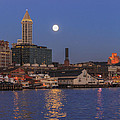 Full Moon Over Pioneer Square by Scott Campbell