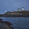 Full Moon Rise Over Nubble by Jeff Folger