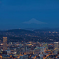 Full Moon Rising Over Portland Cityscape by Jit Lim