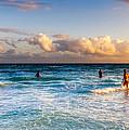 Fun In The Sea At Playa Del Carmen by Mark E Tisdale