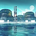Futuristic City On Water by Victor Habbick Visions