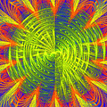 Futuristic Disc Blue Red And Yellow Fractal Flame by Keith Webber Jr