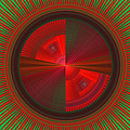Futuristic Green And Red Tech Disc Fractal Flame by Keith Webber Jr