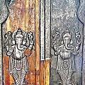 Ganesh Door Plating At The Yoga Maya Hindu Temple In New Delhi India by Kim Bemis