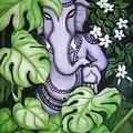 Ganesh With Jasmine Flowers by Vishwajyoti Mohrhoff