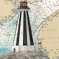 Gannet Rock Lighthouse New Brunswick Canada Nautical Chart Art by Cathy Peek