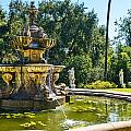 Garden Fountain - Iconic Fountain At The Huntington Library And Botanical Ga by Jamie Pham