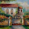 Garden Scene With Villa And Gate by Regina Femrite