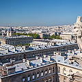 Gargoyle Overlooking Paris City From The Top Of Notre Dame Cathedral by Pierre Leclerc Photography
