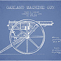 Garland Machine Gun Patent Drawing From 1892 - Light Blue by Aged Pixel