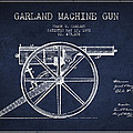 Garland Machine Gun Patent Drawing From 1892 - Navy Blue by Aged Pixel