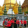 Gathering Near Pagodas Of Grand Palace Of Thailand In Bangkok by Ruth Hager