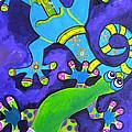 Gecko's Dipped In Paint by Patti Schermerhorn