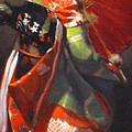 Geisha Girl With Red Umbrella by Takayuki Harada