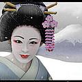 Geisha In Snow On Mt. Fuji by John Wills