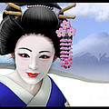 Geisha On Mount Fuji by John Wills