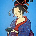 Geisha With Cup by Stephanie Moore